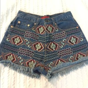 Pants - Aztec embroidered Jean shorts